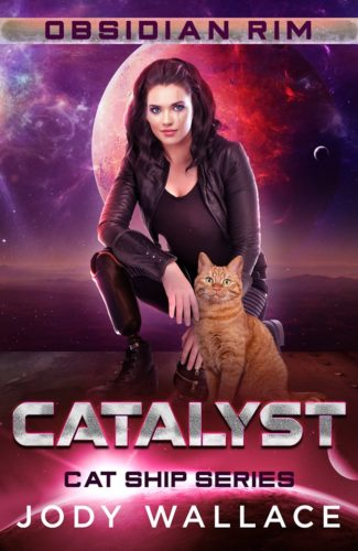 Cover for Catalyst by Jody Wallace. Woman against space background, kneeling with an orange tabby cat in front of her